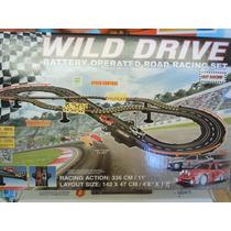 Pista De Carrera Autos Wild Drive-336 Cm. Pilas Y Pulsadores