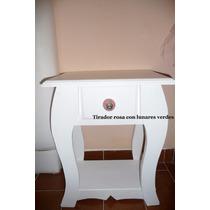 Mesa De Luz Provenzal De Pino Blanca Tirador De Porcelana