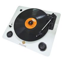 Toca Discos Vinil Com Bluetooth E Alto Falante Base Em Metal