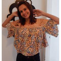 Blusa Estampada Floral Guipure
