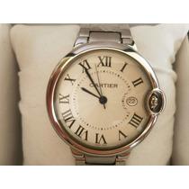 Relógio Prata Dial Branco Cartie Frete Gratis