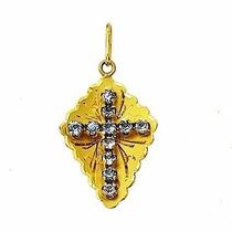Pingente 2.8 Cm Crucifixo Ouro 18k 1.3 Gr Cruz Com Pedras