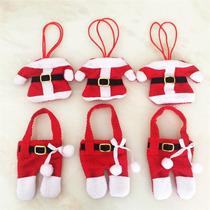 Porta Cubiertos Navideños Ropa De Santa Claus 6 Pzas
