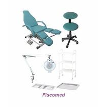 Kit Podologia Cadeira Semi Elétrica,mocho, Exaustor Carrinho