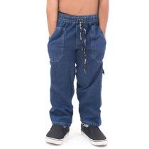 Calça Masculina Infantil Menino Dflash Jeans Azul E Preto