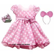 Vestido Fantasia Infantil Festa Minnie Rosa E Tiara