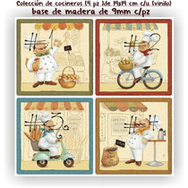 Cuadros Decorativos Para Cocina Colección Chef(4pz) Vinilo