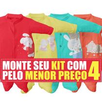 Kit 4 Macacões De Bebê Em Meia Malha Zig Mundi