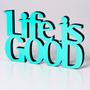 Mural Life Is Good Colores Surtidos Madera P/colgar Living