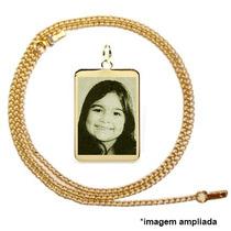 Pingente Banhado A Ouro C Foto Gravada E Corrente Groumet