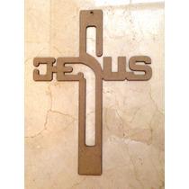 Cruz De Madera Con La Palabra Jesus De 45 Cms / 6mm