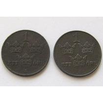 2 Monedas De 1 Ore Del 1918 Y 1947 De Suecia !