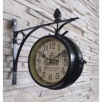 Relógio Estação Paris Dupla Face Vintage Retrô
