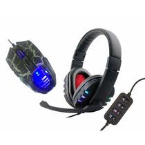 Kit Fone + Mouse Gamer Headset Jogo Ps3 Ps4 E Pc