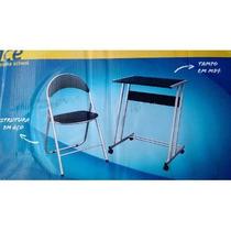 02 (dois) Conjuntos Office-scool - Cadeiras Estofada + Mesas