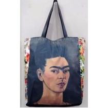 Bolsa Sacola Caveira Frida Kahlo Couro Sarja Zíper Bolso