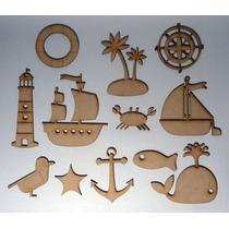 Figuras Fibrofacil Marinas Barco Faro 5 Cm Alto X 10 Unid