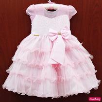 Vestido Bailarina Rosa Festa Infantil Luxo Com Faixa