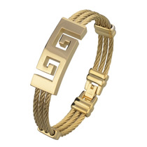 Pulseira Masculina Bracelete Aço Inox Banhada Em Ouro 18k