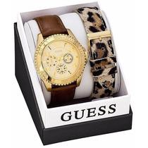 Relógio Feminino Guess Couro W0510l1 Duas Pulseiras