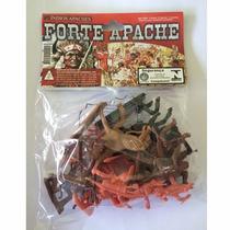 Forte Apache Conj C/ 12 Figuras Índios + 2 Cavalos Gulliver
