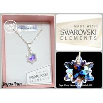 Conjunto Plata 925 Y Dije Cristales Swarovski Copo Invernal
