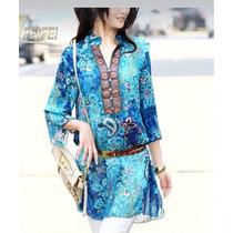 Blusa (túnica) De Seda Chiffon Estampa Floral