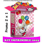 2x1 Kit Imprimible Tarjetas Invitaciones Hello Kitty Marco