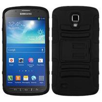 Funda Protector Mixto Samsung S4 Active I537 Negro C/pie
