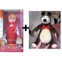 Boneca Do Desenho Masha 25 Cm E O Urso - 22 Cm - Com Músicas