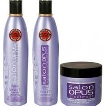 Kit Desamarelador Shampoo Condicionador Máscara Salon Opus