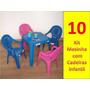Conjunto Mesinha + 4 Cadeiras Plástica Infantil - 10 Jogos