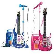 Guitarra Con Microfono Rock & Music Band Para Niños Azul