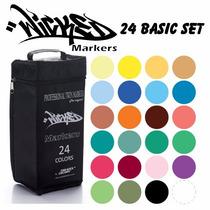 Marcador Plumon Wicked Markers C/24 Basico Diseño Prof.