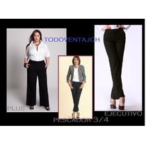 Pantalones De Vestir, Pescador Negro Desde Tallas 4 A Plus