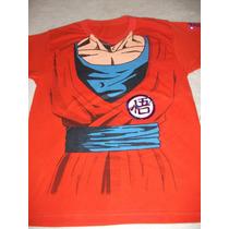 Playera Anime Goku Traje Naranja Talla G 40