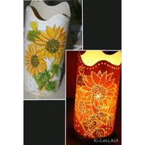 Luminária Abajur Em Pvc Com Tema Flores (1 Unidade)