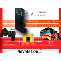 Playstation 2 Ps2 Slim Completo +1 Controle+10 Jogos