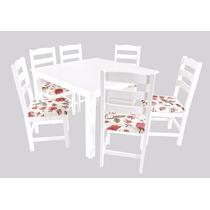 Conjunto Mesa Branca Retangular Veneza C/ 4 Cadeiras Madeira