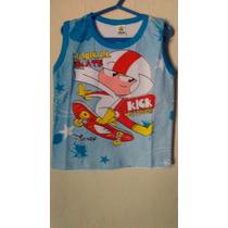 Camisa Masculino Infantil Com Estampa De Desenho A Animados.