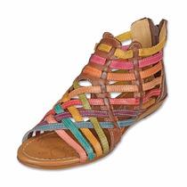 Sandalias Zapatos Confort Étnicas Artesanal De Piel A Meses