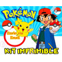 Kit Imprimible Pokemon Diseña Tarjetas Cumpleanos