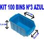 Caixa Gaveta Plástica Bin Azul Numero 3 Pacote Com 100 Peças