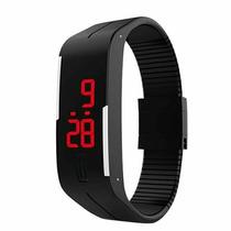 Relógio Slim Preto Led Digital Silicone Pulseira Borracha
