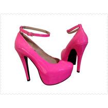 Pumps Hermosas Zapatillas Con Plataforma Rosa Neón Oferta