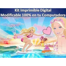 Kit Imprimible Barbie Sirena Fiesta Cumpleaño Torta Recuerdo