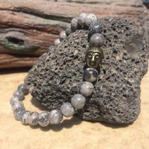 Bracelete Feminino Pedra Natural Jasp Cinza Buda Dourado