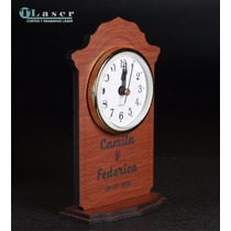 Souvenir Madera Boda C/ Reloj, C/el Nombre De Los Agasajados