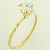 Anel Calice Solitario Ouro 18k Pedra 6mm- Frete Grátis