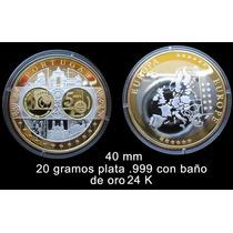 Medalla Portugal Conmemorativa Del Euro - Oro Y Plata
